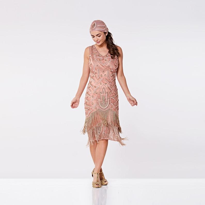 8ad4f6040 Rose Gold Flapper Fringe Dress 1920s Great Gatsby Art Deco | Etsy