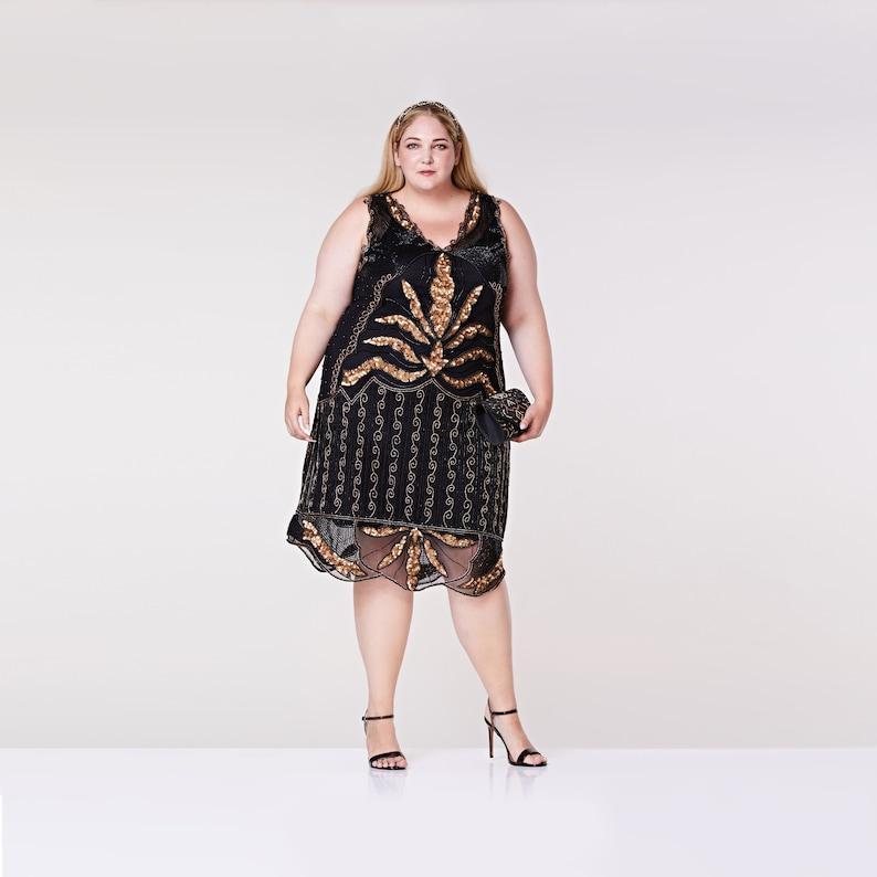 Plus Size Black Gold Flapper Midi Length Dress 1920s Great Gatsby Art Deco  Downt... Plus Size Black Gold Flapper Midi Length Dress 1920s Great Gatsby  Art ... fd04bcf4579d