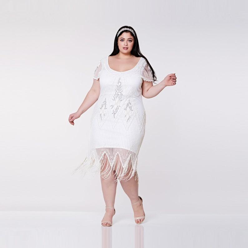 a8f6327f919 Plus Size White Flapper Dress 20s Great Gatsby ArtDeco Downton