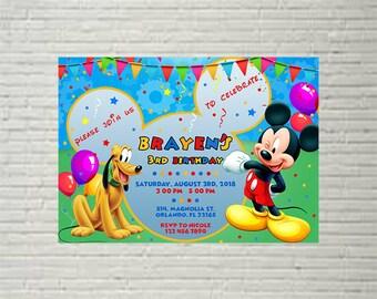 Mickey Mouse  Invitations, Mickey Mouse  Birthday, Birthday Invitations, Birthday Party, Mickey Mouse  Birthday Party Invitations