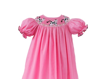 06024455d577 Smocked Cows Pink in Pink Gingham Dress