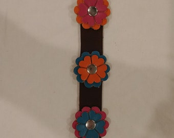 Leather Flower Cuff Bracelet