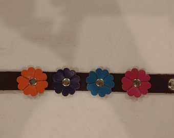 Leather 4 Flower Cuff Bracelet