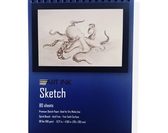 Art Ink Sketch Book, 80 Sheets, 8.3 in. x 11.7 in., 68 lbs. - 100 g/m2