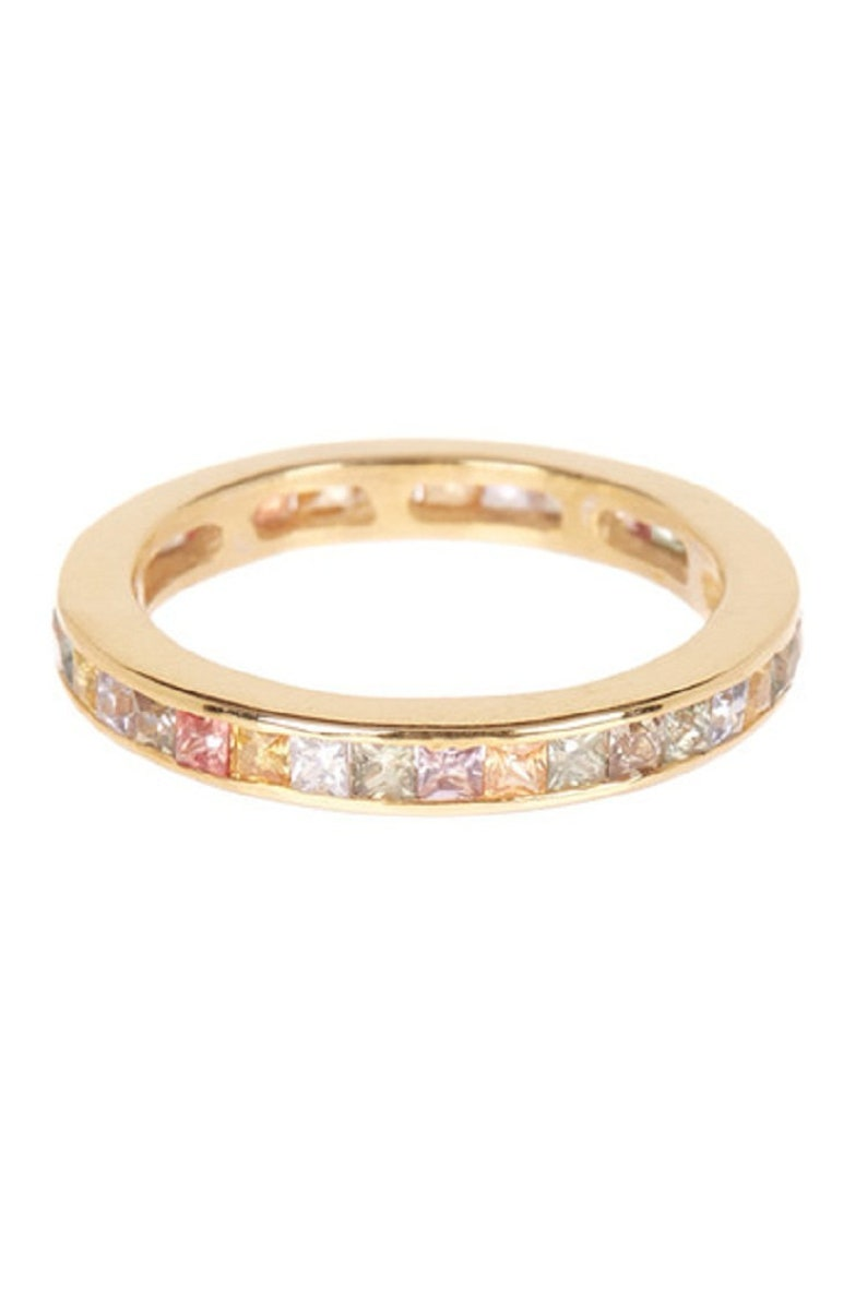 Sterling silver gold plated multi sapphire ring