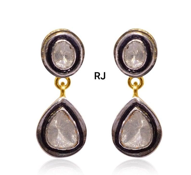 925 Sterling Silver rosecut diamond earring