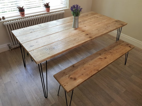 Miraculous Tablo In Wax Large Handmade Reclaimed Timber Dining Table And 2 Benches With Hairpin Legs Evergreenethics Interior Chair Design Evergreenethicsorg