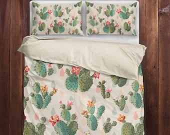 cactus bedding cactus duvet cover cactus lovers bedding queen bedding king bedding twin bedding cactus gifts cactus print - Cactus Bedding