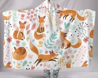 Kids Premium Sherpa Adult Playful Fox Hooded Blanket Plush