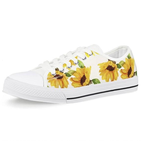 Decorative Sunflowers Classic Canvas Shoes Skate Sneakers Womens Fashion Print Original Durable