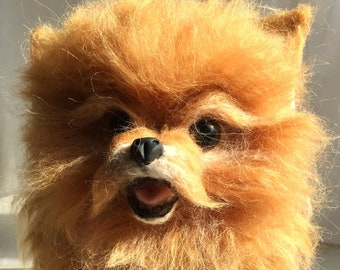 Needle Felted Wool Dog Sculptute Pomeranian Big Size/Handmade Animal/Pomeranian Portrait Framed/ Framed Felted wool pet/Dog/ Ready to adopt