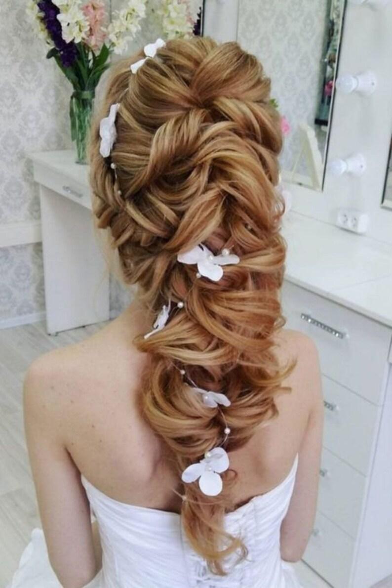 Fiore nuziale capelli lunghi Vine capelli pezzo corona da ...