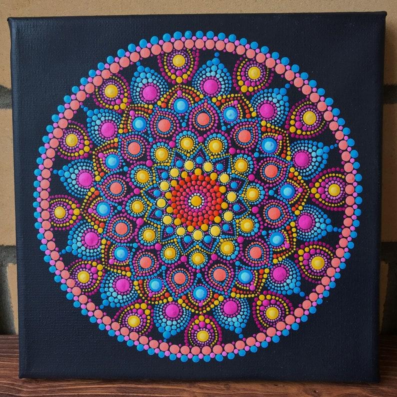 Mandala on Canvas Energy Mandala Mandala Dots Painting Hand Painted Acrylic Dot Sacred Geometry Spiritual Dot Art 8*8 inches