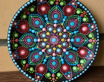 Hand Painted Dotted Mandala Souvenir Plate