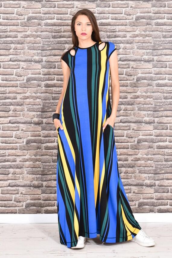 Maxi Dress, Plus Size Maxi Dress, Trendy Plus Size Clothing, Colorful  Dress, Long Maxi Dress, Sleeveless Dress, Bohemian Clothing, Party