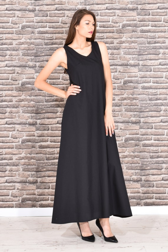 Black Kaftan Dress, Maxi Dress, Plus Size Clothing, Long Black Dress, Tank  Dress, Sleeveless Dress, Gothic Clothing, Oversize Dress, Summer