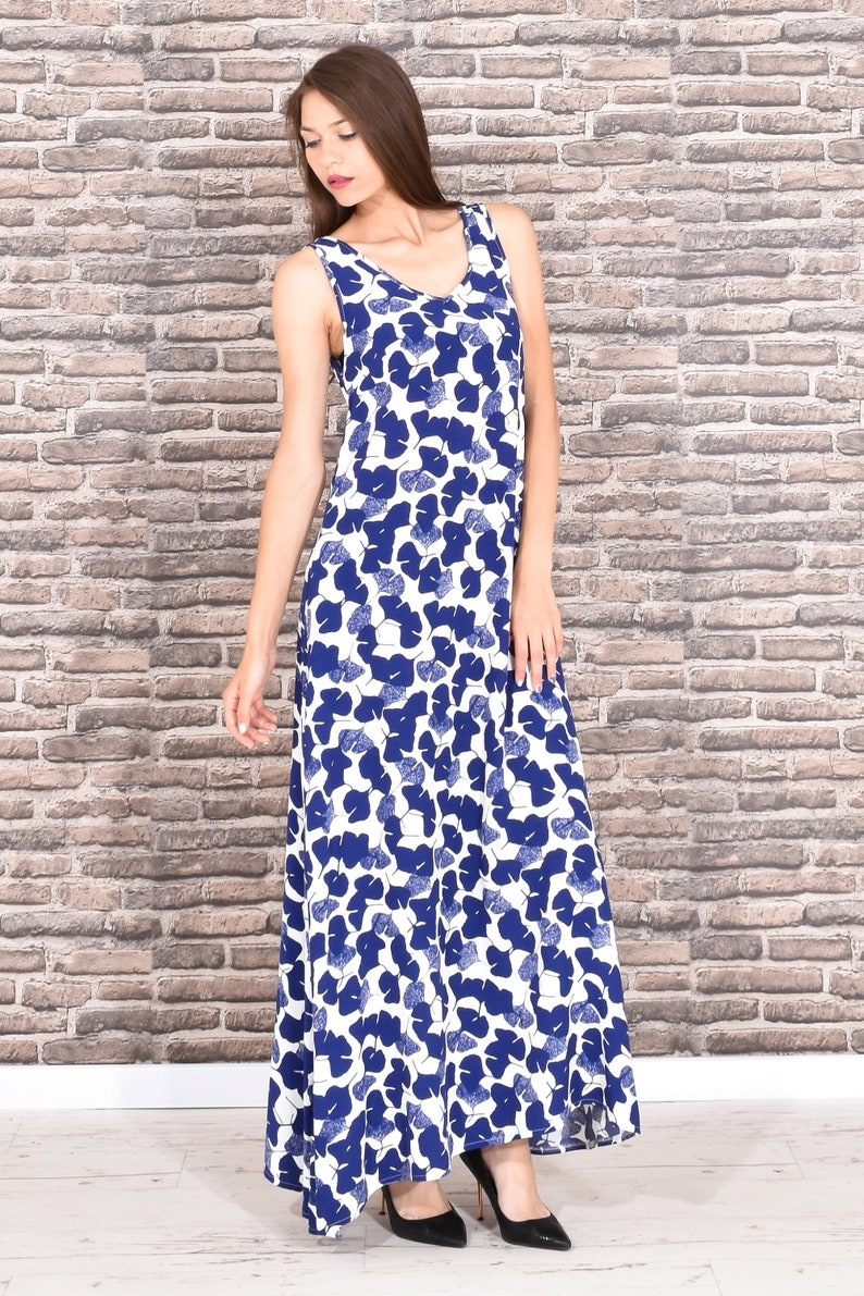Pattern Dress, Maxi Dress, Plus Size Maxi Dress, Dress For Women, Floral  Dress, Tank Dress, Summer Dress, Blue White Dress,Sleeveless Dress
