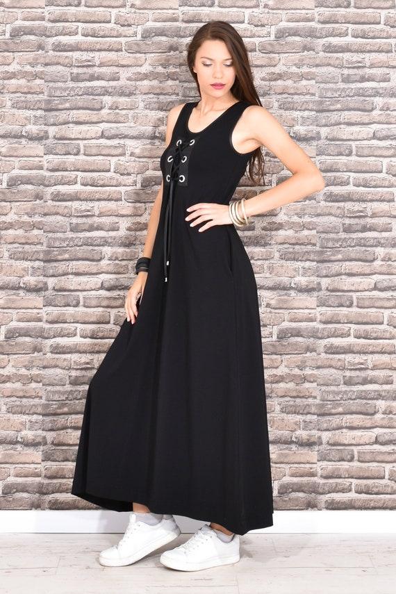 Black Tank Dress, Maxi Dress, Plus Size Clothing, Dress For Women, Kaftan  Dress, Sleeveless Dress, Long Dress, Gothic Clothing, Oversized