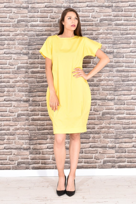 Yellow Dress, Plus Size Clothing, Yellow Summer Dress, Dress For Women, Short Sleeved Dress, Minimalist Dress, Knee Length Dress, Balloon