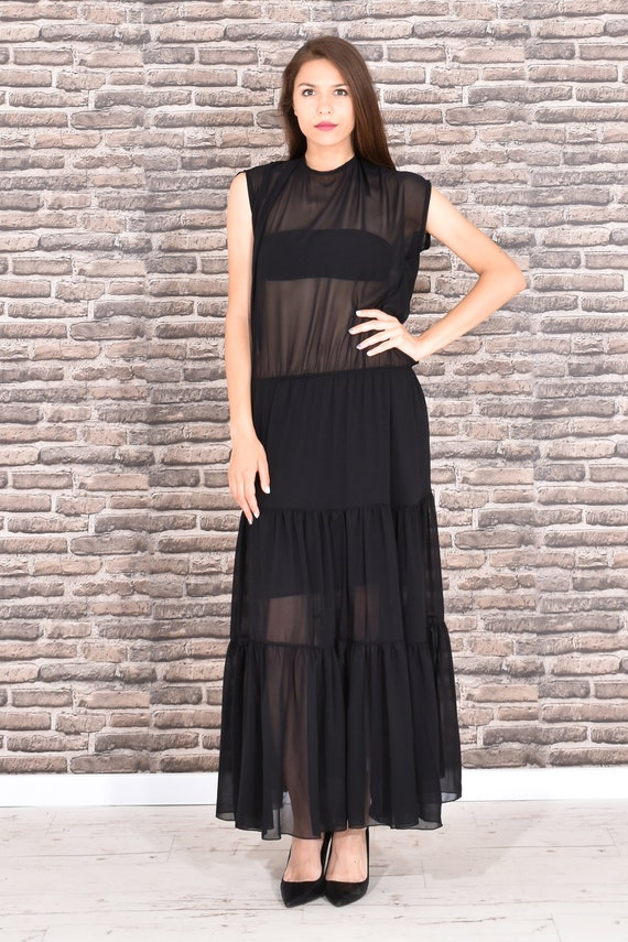 Maxi Dress, Black Maxi Dress, Plus Size Maxi Dress, Sheer Dress, Plus Size  Clothing, See Through Dress, Long Dress, Gothic Clothing