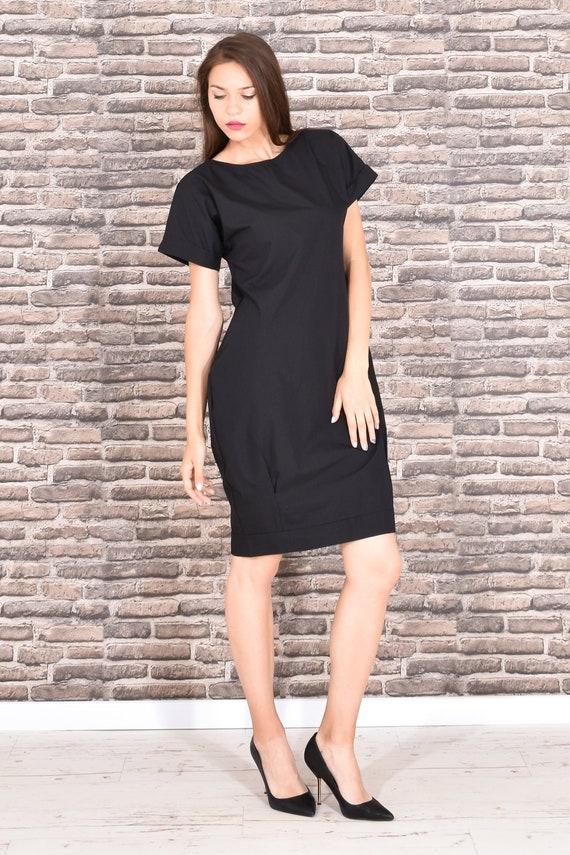 Black Dress Little Black Dress Short Sleeved Dress Knee Etsy