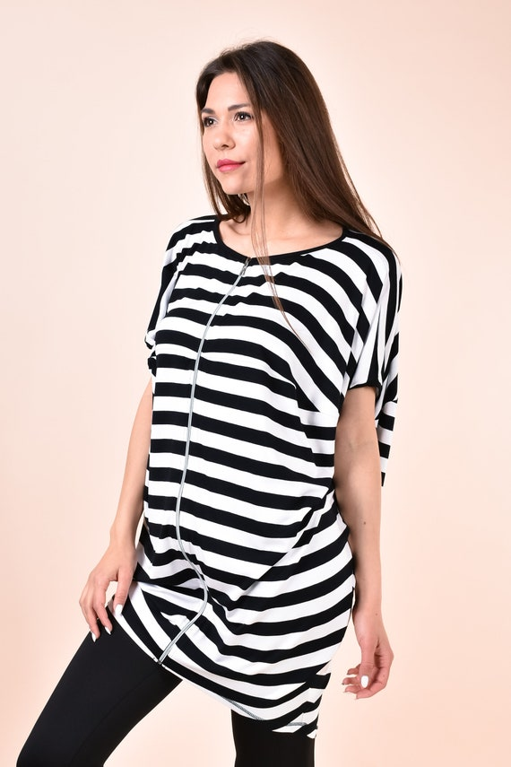 Striped Dress, Black And White Dress, Zipper Dress, Plus Size Clothing,  Short Dress, Tunic Dress, Oversize Dress, Short Sleeved Dress