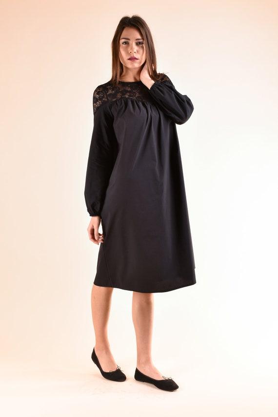 Black Dress, Plus Size Clothing, Loose Dress, Lace Dress, Long Sleeve  Dress, Knee Length Dress, Shift Dress, Formal Dress, Trendy Plus Size