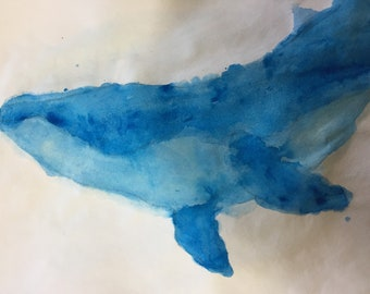 Original Hand Drawn Blue Whale Watercolor