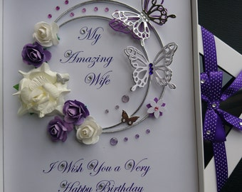 Personalised Luxury Handmade Birthday / Mother Day Card with GIFT BOX