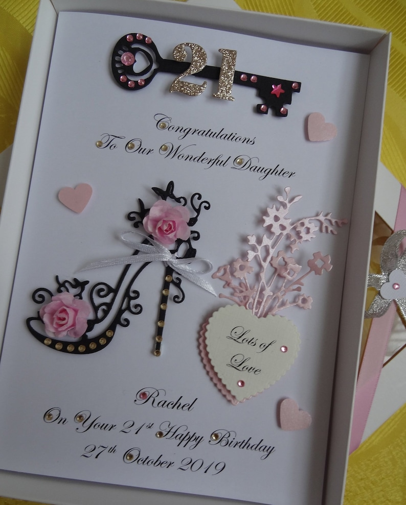 Personalised 50th birthday card for MUM WIFE DAUGHTER handmade gift boxed