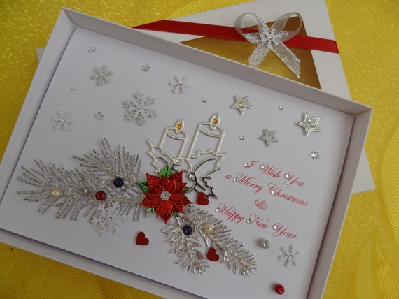 Handmade Personalised Christmas Card 3D Gift Box