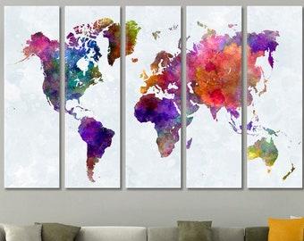 Weltkarte Wandkunst, Weltkarte Leinwand, Weltkarte, Drucken, Weltkarte  Leinwand, Weltkarte Weltkarte Push Pin, Große Wand Kunst Weltkarte Leinwand
