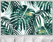 Palm Leaf Wall Art, Tropical Palm Leaves Canvas Print, Abstract Palm Modern Art, Jungle Leaves Art, Floral Artwork, Plant Home Decor