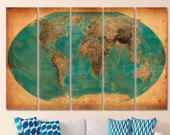 Weltkarte Wandkunst, Weltkarte Leinwand, Weltkarte, Drucken, Weltkarte  Leinwand, Weltkarte Globus Karte Schieben Pin, Große Wand Kunst Globus  Leinwand