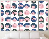 Abstract Faces Modern Artwork, Abstract Faces Painting, Family Modern Art Print, Faces Wall Art, Abstract Wall Art, Seamless Family Canvas