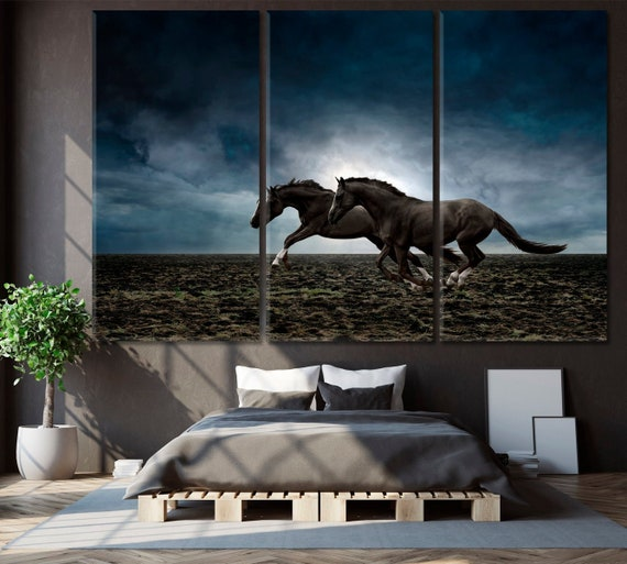 Art Poster Canvas Horse Gallop Animal Picture Bedroom Wall Kid Home Decor Gifts