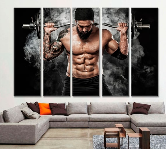 Crossfit Gym Fitness Motivation Workout Decor Wall Art Home Print Barbell