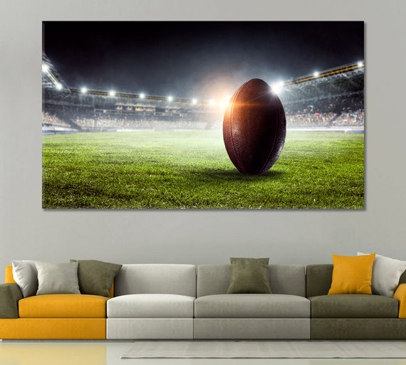 FOOTBALL KICK OFF SPORT BOX MOUNTED CANVAS PRINT WALL ART PICTURE PHOTO