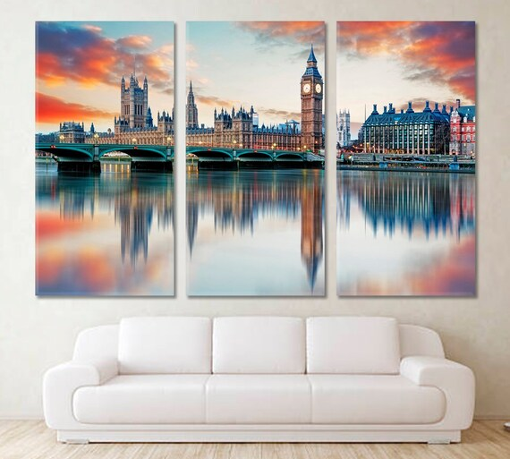 Large Wall Art Canvas Print of Westminister Parlimant House Framed