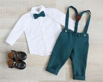 bow tie Kids fly Baptism toddler outfit Sage green children/'s pants High waist pants with linen shirt