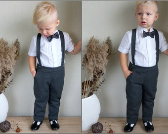 Boy linen carrier pants + bow tie Toddler pants with suspenders Baptism pants with straps Page boy outfit