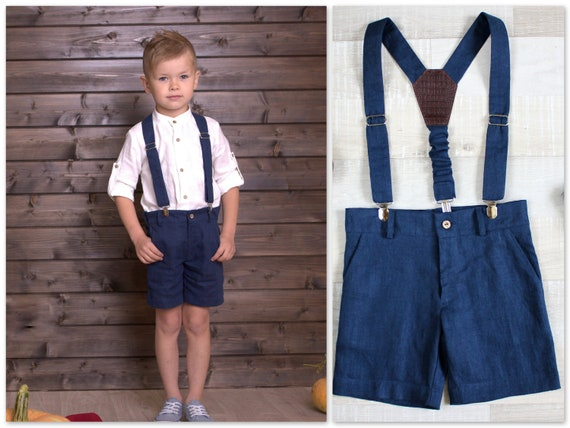 2ps: Boys linen Shorts + suspenders Ring bearer outfit Birthday clothing Baptism Suit Shorts with straps Bermudas