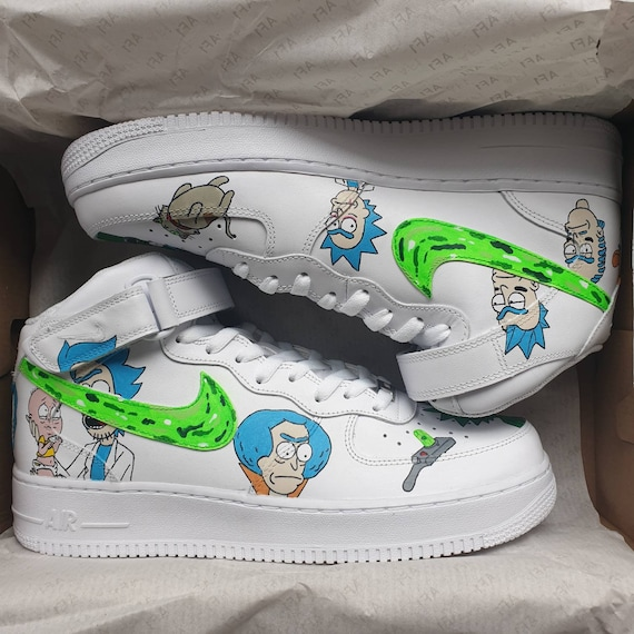 Custom Rick and Morty Nike Air Force One Trainers. Alternate Ricks design. Made to order