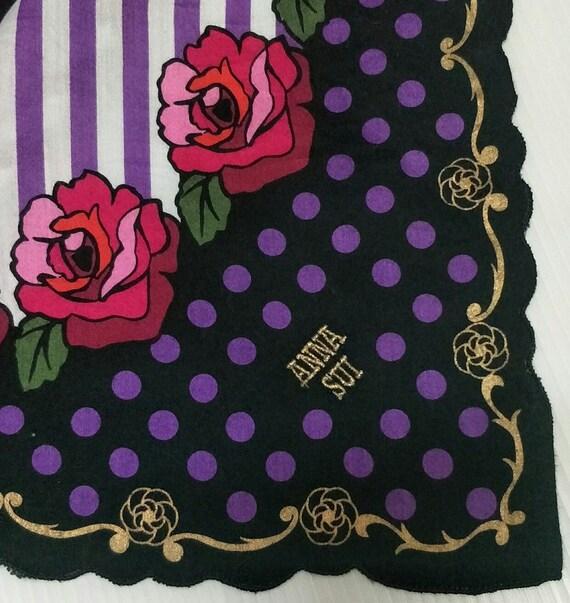 Vintage ANNA SUI Floral motive luxury cotton  han… - image 4