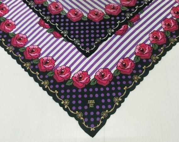 Vintage ANNA SUI Floral motive luxury cotton  han… - image 5