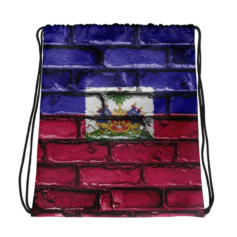 Haiti Haitian Flag Drawstring bag image 0