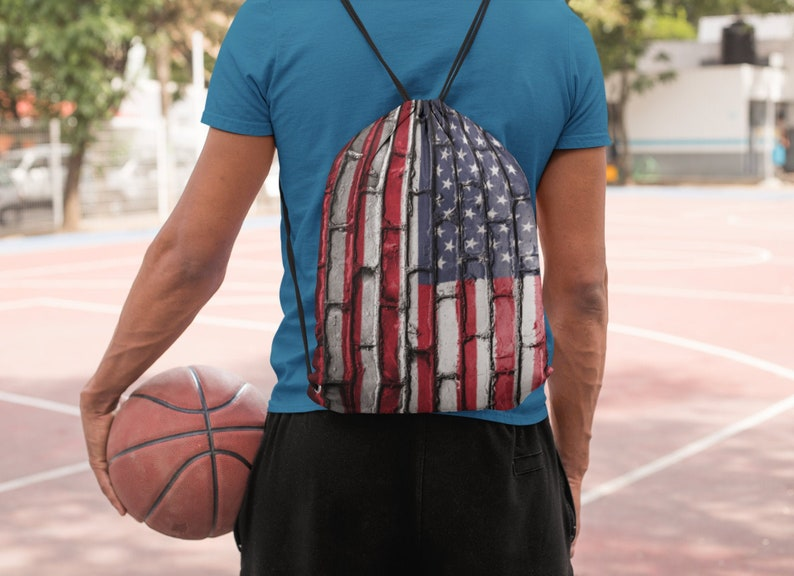 USA American Flag Drawstring bag image 0