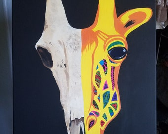 Giraffe skull half and half colorful painting