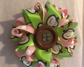 Pink with White Poke a Dot and Green Monkey Hair Bow Barrette