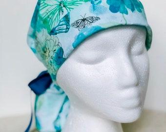 31da53fb0c6d7 Blue Floral and Butterflies Scrub Hat
